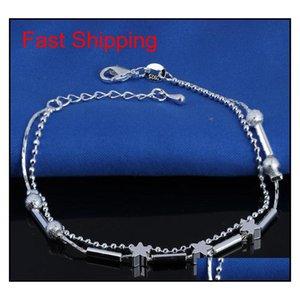 Nouveau Bracelet de la cheville Stralle Sterling 925 pour les femmes Bijoux En Inlaid Zircon Anklets Bracelet sur une jambe JLLWY BDESYBAG