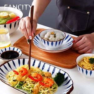 FANCITY Light luxury dishes, ceramic dishes set, household Japanese tableware, dishes and chopsticks set, creative tableware com