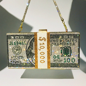 Mode Geld USD Diamant Abendtaschen Dollar Design Schulter Kristall Strass Party Tasche Hochzeit Abendessen Frauen Q1206