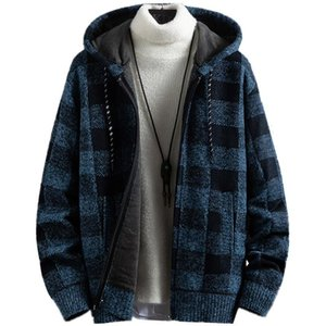 Мужская новая осень зима пледа вскользь с капюшоном кардиган кашемировой утолщение теплый свитер мужской молния добавить шерстяную вязать куртку
