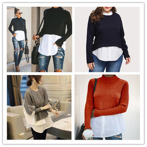 2021 Spring Autumn Womens Designer Panelled Sweaters Fashion Crew Neck Tops with Button Female Sexy Pullover Knits Clothing