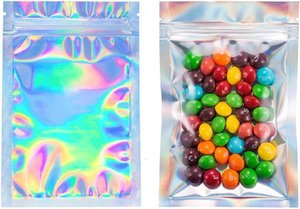 Smell Bags 100 Proof pcs Foil Resealable Pouch Flat laser color Packaging Bag for Party Favor Food Storage Holographic Epacket