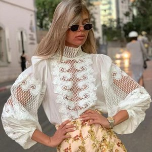 Embroidery Mesh Patchwork Lace Womens Shirts Blouse Bow Scarf Collar Lantern Long Sleeve Spring Female Clothing Fashion 2020