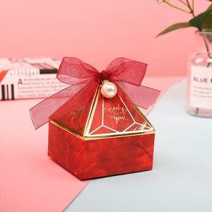 Lbsisi Life Diamond Forma Wedding Candy Packaging Boxes Favor de cumpleaños Party Sweet Sugar Mármol Chocolate Caja de galletas con cinta Jllvnk