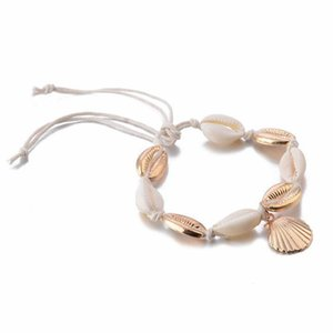 S051 Vintage Golden Boho Anklet Women Shell Pendant Sequins Beads Charm Foot Ankle Bracelet Beach Jewelry Leg Chain Enkelbandje Swy sqcfsU