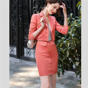 Vintage Sexy One Button Short Women Blazer High Waist Mini Skirt Long Sleeve Suits female interview clothing 2 Pieces Set