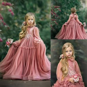 Pink Flower Girl Dresses High-neck Long Sleeve Appliqued Lace Beaded First Communion Dress Tiered Sweep Train Tulle Hollow Pageant Gown