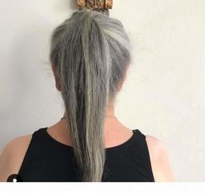 Sleek Grey Ponytail Hoderpiece Wraps Silver Grey Bun Pony Tail Tail PonyTring Ponytail Exenension 100g 120g 140g