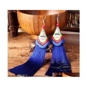 Yeni Uzun Püskül Küpe Moda Bohemian Handwoven Nakış Çiçekler Uzun Püskül Küpe Düğün PA Sqcosf Beauty888 için