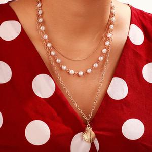 Bringle New 2020 Fashion Insh Vintage Cadena Colgante Colgante Pearl Shell Simple Scallop Necklace para Mujeres Girls Regalos Partido