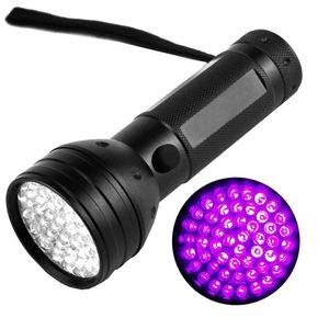 395nM 51LED UV Ultraviolet flashlights LED Blacklight Torch light Lighting Lamp Aluminum Shell for Outdoors Camping Hiking