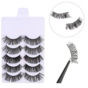 5 Pairs 3D Soft Faux Mink Hair False Natural Eyelashes Eyelash Crisscross Wispy Fluffy Lashes Extension Bushy Eye Makeup Tools