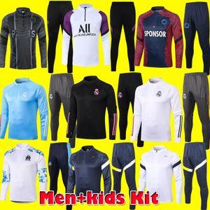 NCAA Homens Kids Kit 2021 Real Madrid Futebol Treinamento Ternos 20 21 Marselha Paris Mbappe Surveter Soccer Tracksuit França Maillots de pé