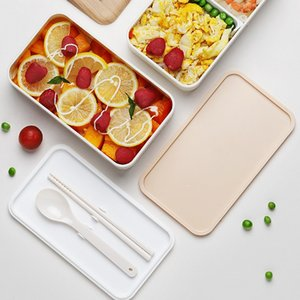Large capacity double deck lunch box wooden style portable microwave plastic lunch box for office workers and students