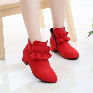 Mumoreip Girls Boots Bloock Tela Cálido Algodón Otoño Invierno Niños Botas de tobillo con Ruffles Children Princess Botas de tacón alto 201130