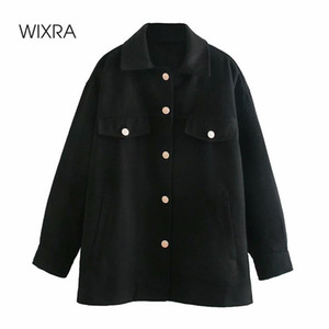 Wixra Womens Black Woolen Jacket Coat Ladies Pockets Thick Turn Down Collar Long Sleeve Female Cool Outerwear