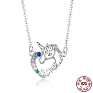 Luxury Designer Halloween Japanese and Korean Hipster Aurora Glass Necklace Dreamy Colorful Unicorn Cute Crystal Necklace Q1121
