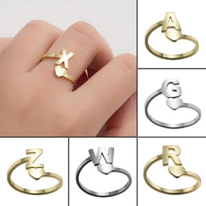 DIY A-Z 26 Letter Rings Stainless Steel Open Love Heart Shaped Gold Engagement Wedding Jewelry