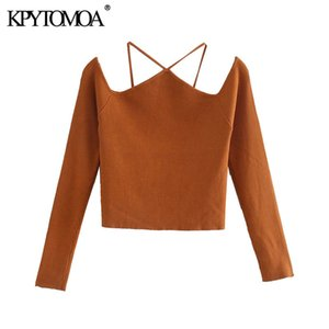 KPYTOMOA Women 2020 Fashion With Straps Cut-out Knitted Sweater Vintage Off The Shoulder Long Sleeve Female Pullovers Chic Tops Q1114