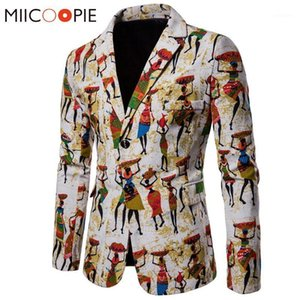 Erkek Takım Elbise Blazers Erkek Moda Pamuk Keten Erkekler Afrika Baskı Rahat Slim Fit Ceket Suit Terno Masculino Hombre1