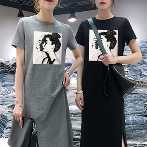 Summer Women Daisy Dress Short Sleeve Casual Bottoming Print Midi Black Tshirt Dresses O-Neck Woman Korean Clothes Vestidos 2020 Y200623