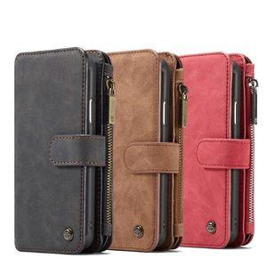 Caseme Wallet Case Split Leather Zipper Bag Multi Slot Magnet Cover for iPhone 11 Pro XS Max XR XR X 8 Samsung S10 Plus Huawei