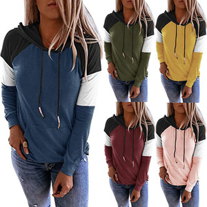 Europe and America hot Autumn And Winter 2020 long sleeve hooded sweater women's loose fashion color block large size women's new style