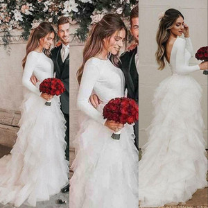 2021 Cheap Glamorous Long Sleeves Country Wedding Dresses Cascading Ruffles Layers Tulle Bridal Gowns Vestidos Plus Size Boho Wedding Dress