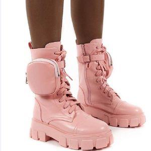 Lucyever Fashion Platform Boots Women Chunky Heels Stivaletti Stivaletti Autunno Inverno Moto Femminile Botas Mujer Plus Size 35-43 201124
