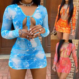 T-shirt da donna a due pezzi da donna NUOVO 2020 Autumn Stampato T-shirt a maniche lunghe aderente a vita alta Vita anca Casual Vestito casual per le donne all'ingrosso 3 colori