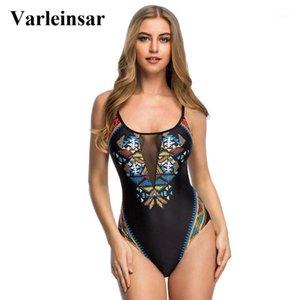 Varleinsar 2020 Sexy estampado geométrico encaje hacia arriba atrás de una pieza Traje de baño Traje de baño femenino Mujeres Traje de baño Swim Wear Monokini V3951