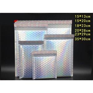 10 adet Lazer Gökkuşağı Postacılar Posta Zarf Torbaları Su Geçirmez Kurye Kabarcık Mailers Lazer Gümüş Yastıklı Zarf Bbyyqn