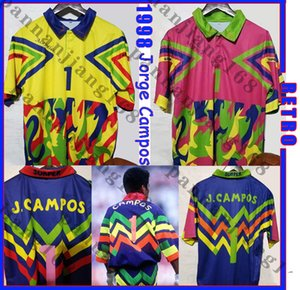 Mexiko Jorge Campos # 1 1998 Retro Fussball Jersey Gelb Multicolor Verde Rosa Multi-Color # 1 Torwart Zidane Henry Vintage Football Hemd