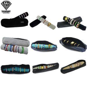 Superior Soft PU Cuir Velvet Voyage Voyage Roll Up Case Organisateur Zone Zipper Pochette Bracelet Portable Bracelet Bijouterie Bag d'organisateur