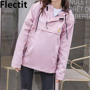 Flectit Giacca a vento con cappuccio rosa carino per donna giacca da pioggia con cappuccio cappotti femmina abiti all'aperto Y200101