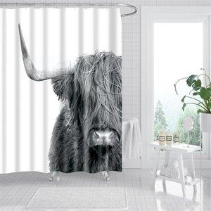 방수 푸른 동물 목욕 커튼 욕실에 대 한 귀여운 3D 동물 인쇄 샤워 커튼 욕실 커튼 Cortina de Bano 201128