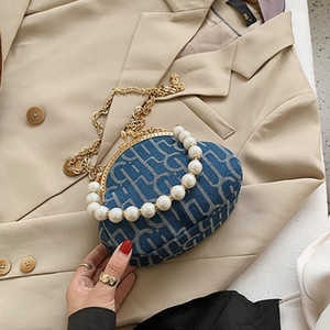 Versatile retro small bag women's bag Plaid Sequin fashion chain single shoulder clip mouth pearl portable messenger bag Handbag