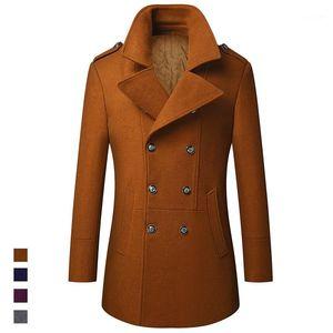 Moruancle Mens Winter Winter Warm Wool Mezcla Moda Extra Largo Abrigo Algodón Forrado Grueso Térmico Termal Rompeviento Outerwearwok Chaqueta 1