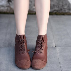 Artmu Original Genuine Leather Flat Bottom Women Boots Soft Sole Short Boots Spring and Autumn Handmade Comfortable Ankle