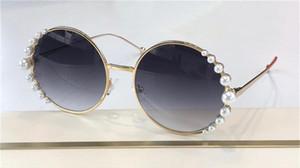 Novos óculos de sol de design 0295s redondo frame de metal incrustado com pérolas Top Quality Popular estilo avant-garde uv400 óculos protetores