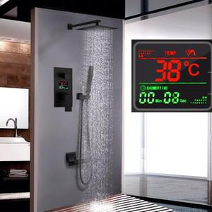 Langyo Black Brass Shower Head 3 방법 디지털 디스플레이 믹서 탭 욕실 샤워 수도꼭지 3 기능 디지털 샤워 수도꼭지 세트 WMTRJG