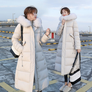 Long Winter Down Parka Jacket Womens Warm Hooded Jacket Coat Winter 90% White Duck Down Coats Ladies Fur Collar Outwear Overcoat