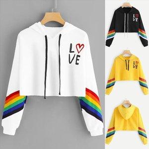 2020 Women Rainbow Hoodied Long Sleeve Hoodie Pullover Letter LOVE Print Ladies Sweatshirt Bluasa Short Tops felpe donna