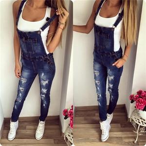 Qnpqyx novo namorado casual rasgado jeans macacão romper calças buraco mangas denim macacão para as mulheres 1321 C1123
