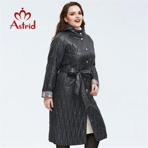 Astrid New Llegada Chaqueta suelta Ropa suelta Talla grande Abrigos largos con cinturón Abrigo de primavera Mujeres AM-9428 Y201001