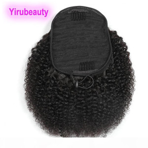Peruvian Human Hair Ponytails Afro Kinky Curly Virgin Hair Brazlian 100g 1 Piece Afro Kinky Curly Malaysian Remy Pony tails