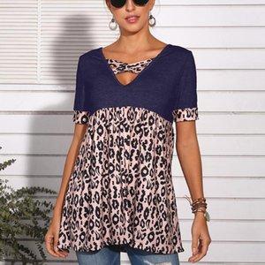 New Spring Summer Leopard Print Short-sleeved Women's V-Neck T-shirt