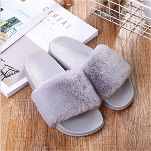 Slippers Womens Zapatos Mujer Ladies Slip On Sliders Fluffy Faux Fur Flat New Fashion Female Casual Slipper Flip Flop Sandal 201128