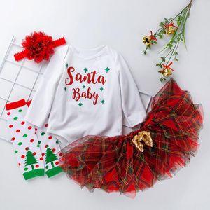 4PCS Newborn Baby Girls Christmas Clothes Set Navidad Toddler Outfits Letter Printed Bodysuit Top Tutu Dress Hairband Socks Set
