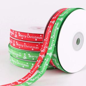 1 cm Ruban de Noël Ruban vert Ruban de neige Ribbon Rib et de décoration de vacances Cadeau d'emballage bricolage Craft Joyeux Noël Accessoires FFC975